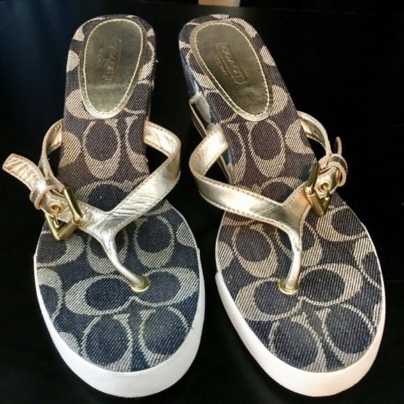 Coach Pristine silver and denim wedge sandals